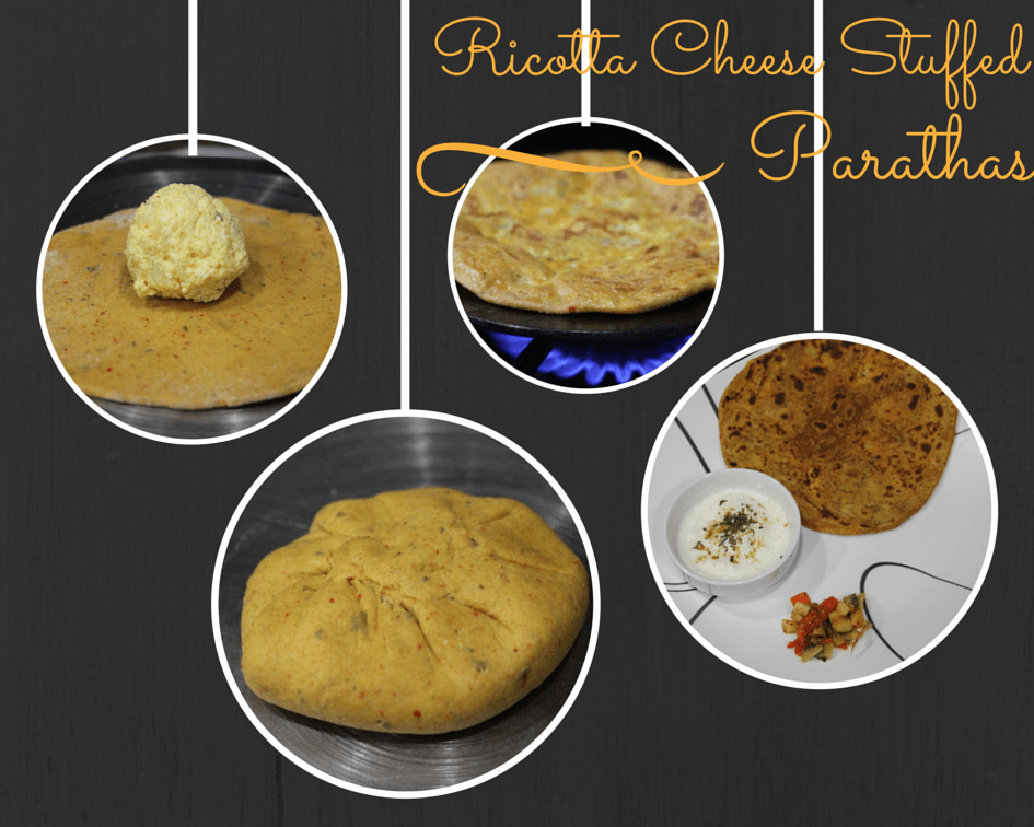 Ricotta Cheese stuffed Parathas - Whole wheat flatbreads stuffed with cheese , potatoes and spices!