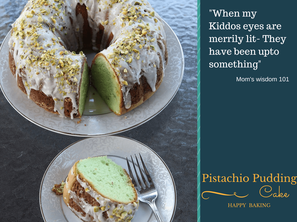 Pistachio Pudding Bundt cake with white chocolate chips