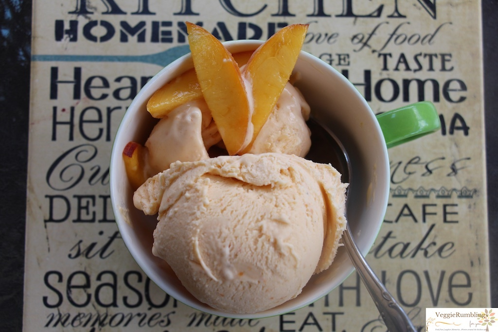 Creamy Peach Apricot Cardamom Ice Cream - Eggless, Quick and Fuss free